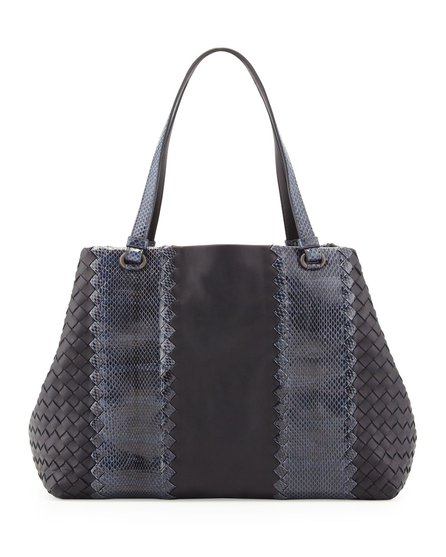 Snake & Napa Leather Tote Bag, Navy   Bottega Veneta