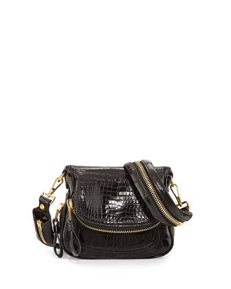 Jennifer Mini Alligator Crossbody Bag, Black