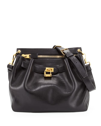 Large Lock-Front Crossbody Bag, Black