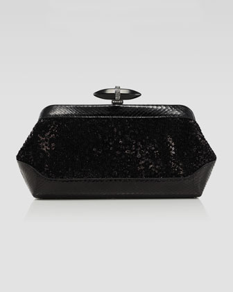 Whitman Sequin & Snake Clutch Bag, Black