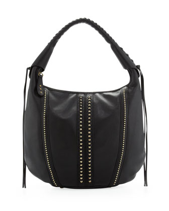 Viviane Studded Hobo Bag, Black