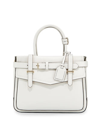 Boxer Pebbled Leather Tote Bag, White