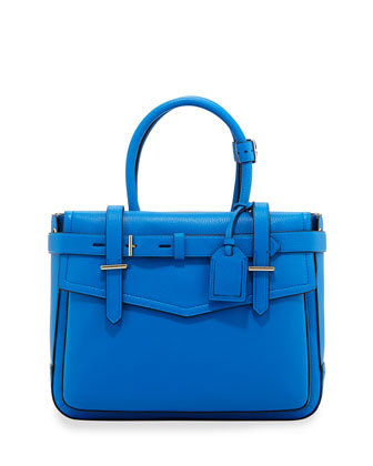 Boxer Pebbled Leather Tote Bag, Blue