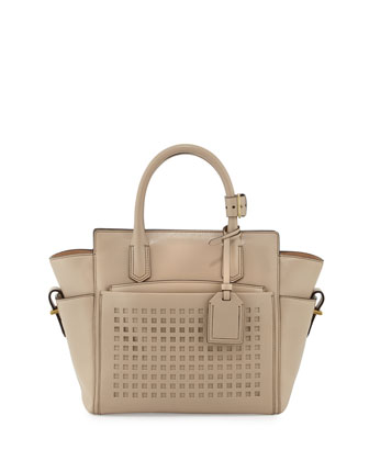 Atlantique Mini Perforated Tote Bag, Tan