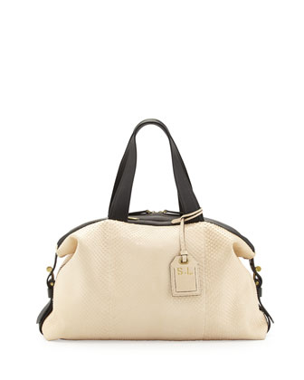 RDK Atlas Anaconda Satchel Bag, White/Black