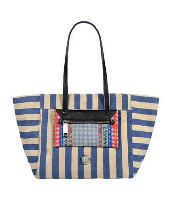 Kathleen Striped Jute Tote Bag, Blue