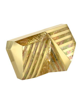 Azura Asymmetric Striped Minaudiere, Gold
