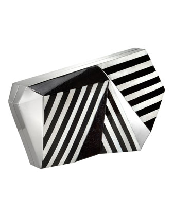 Azura Asymmetric Striped Minaudiere, Black/White