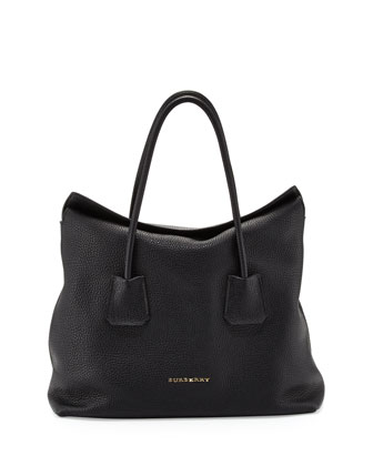 Grained Top-Handle Tote Bag, Black