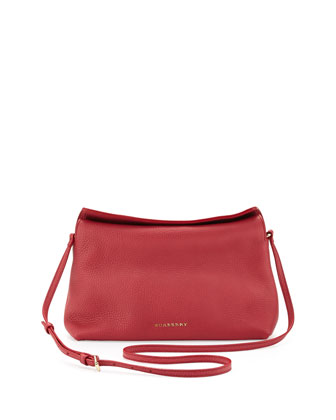 Small Grained Leather Crossbody Bag, Pink