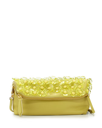 Floral Leather Shoulder Bag, Pale Lemon