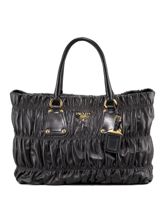 Napa Gaufre Tote Bag, Black (Nero)