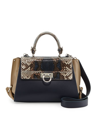 Sofia Colorblock Python-Flap Satchel Bag, Blue