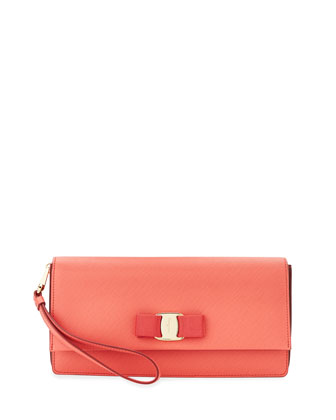 Camy Saffiano Vara Clutch Bag, Rose