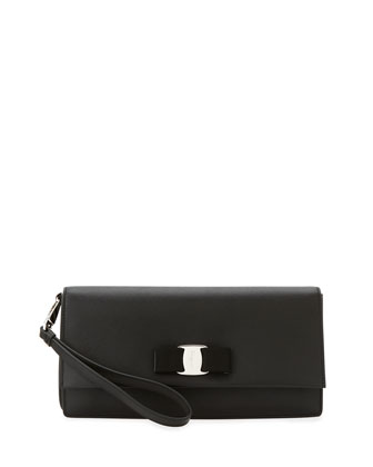 Camy Saffiano Vara Clutch Bag, Black