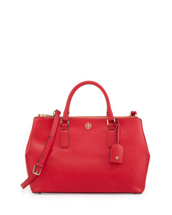 Robinson Saffiano Double-Zip Tote Bag, Hot Pink