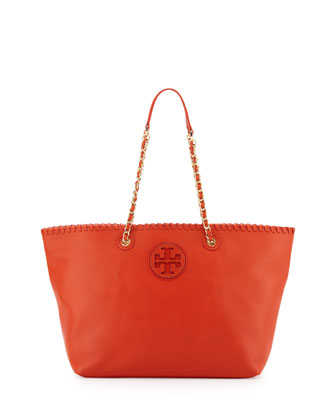 Marion Small East-West Tote Bag, Orange