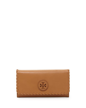 Marion Whipstitch Continental Flap Wallet, Tan