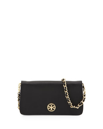 Adalyn Saffiano Crossbody Clutch Bag, Black