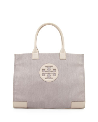 Ella Metallic Nylon Tote Bag, Khaki