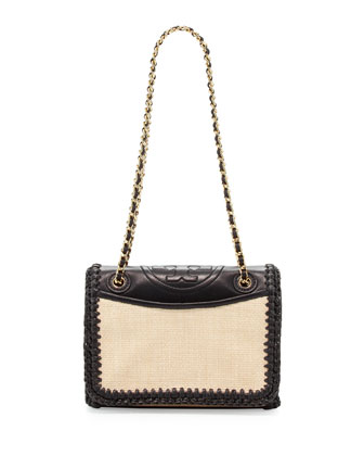 Fleming Crochet Medium Flap Bag, Natural/Black