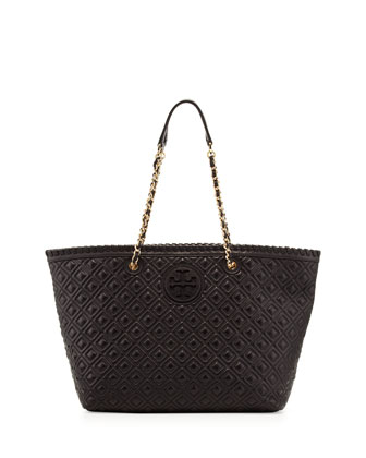 Marion Quilted Small Tote Bag, Black