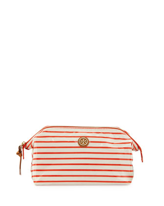 Striped Frame-Top Cosmetic Case, Red