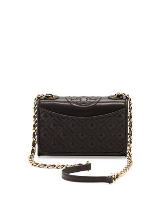 Fleming Quilted Mini Flap Shoulder Bag, Black