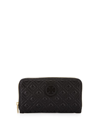 Marion Quilted Continental Zip Wallet, Black