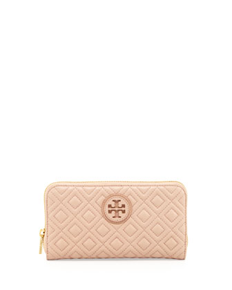Marion Quilted Zip Continental Wallet, Pink