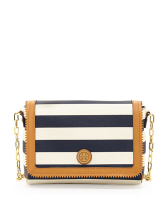Kerrington Striped Crossbody Bag, Blue/White