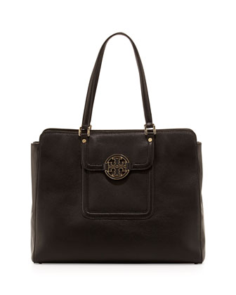 Amanda Triple-Compartment Tote Bag, Black