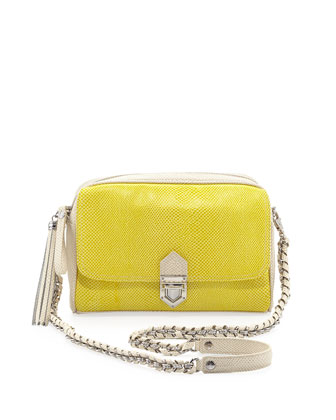 Snake-Print Zip-Top Shoulder Bag