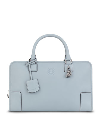 Amazona Elephant-Charm Satchel Bag, Light Blue