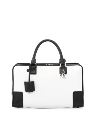 Amazona Panda-Charm Satchel Bag, White/Black