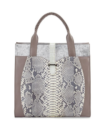 Corina Python & Leather Tote Bag, Gray