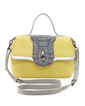 Oxy Python & Crocodile Crossbody Bag, Yellow
