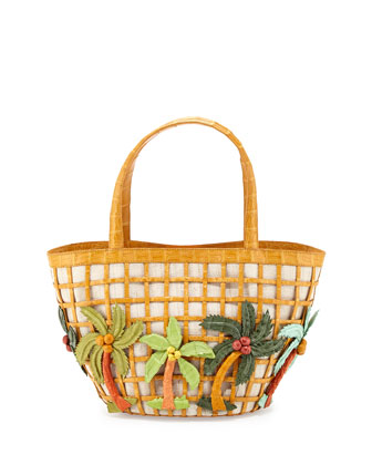 Crocodile Small Palm Tree Tote Bag, Yellow Multi