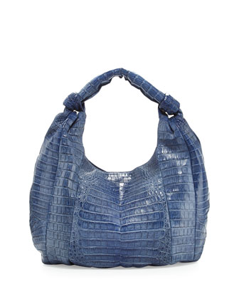 Crocodile Medium Hobo Bag, Blue