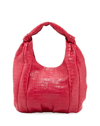 Crocodile Medium Knotted-Handle Hobo Bag, Pink