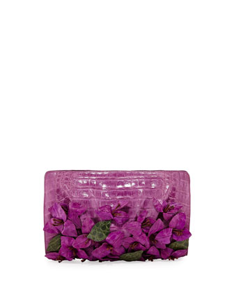 Small Crocodile Flower Clutch Bag, Magenta
