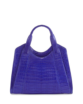 Crocodile Satchel Bag, Blue