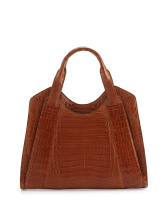Crocodile Medium Satchel Bag, Brown