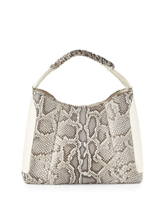 Python Medium & Crocodile Hobo Bag, Natural
