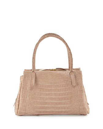 Small Crocodile Tote Bag, Neutral