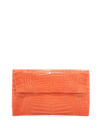 Small Soft Crocodile Flap Clutch Bag, Orange