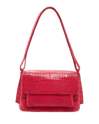 Crocodile Medium Shoulder Bag, Pink