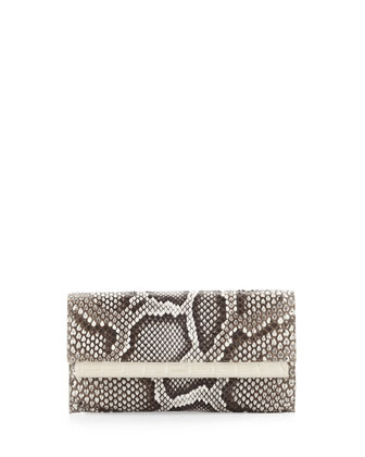 Python Crocodile-Bar Clutch Bag, Natural