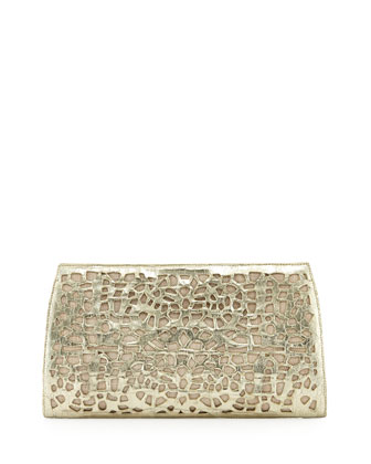 Straw/Crocodile Clutch Bag, Light Gold