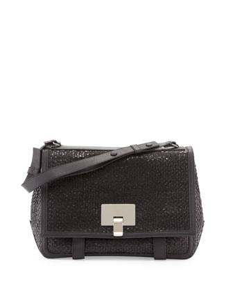 PS Courier Large Woven Shoulder Bag, Black
